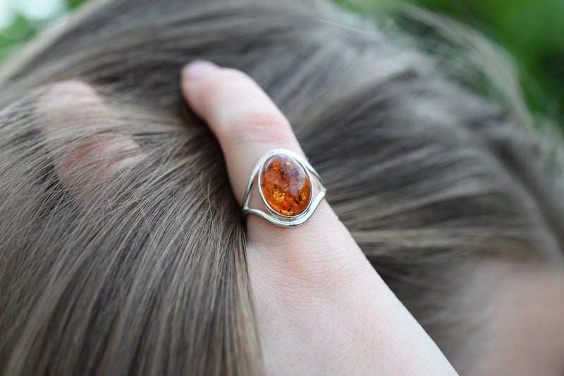 925 Silver Oval Cognac Amber Ring
