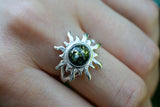 925 Silver Large Sun-Shaped Green Amber Ring