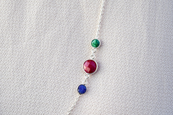 925 Silver Emerald, Ruby and Sapphire Double Wrap Around Necklace