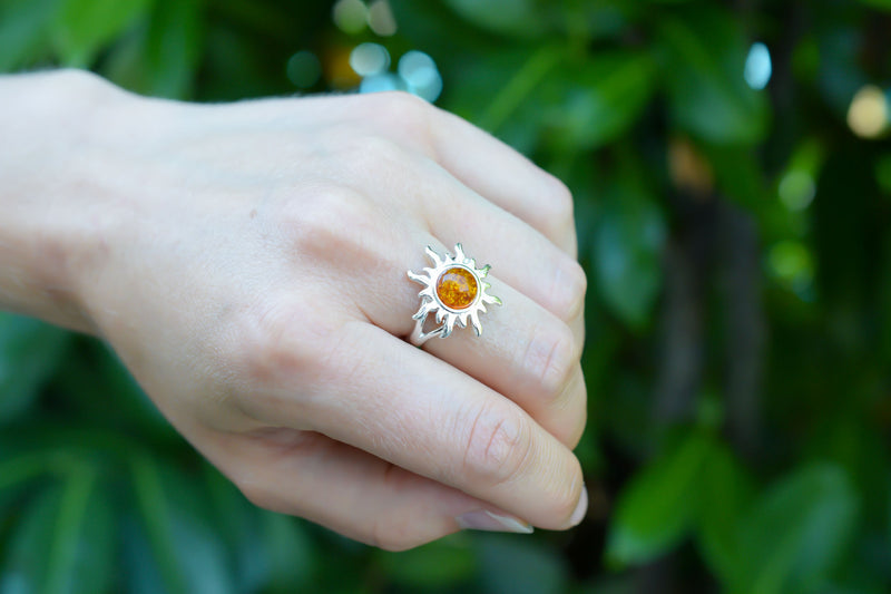925 Silver Large Sun-Shaped Cognac Amber Ring