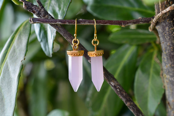 925 Gold-Plated Silver Pink Agate Crystal-Shaped Earrings