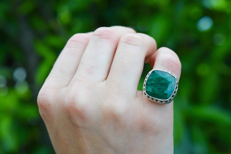 925 Silver Decorated Square Emerald Mughal-Style Ring