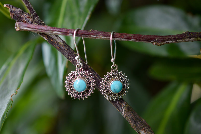 925 Silver Turquoise Round Decorated Earrings
