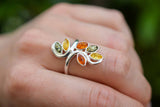 925 Silver Multicoloured Flower Ring