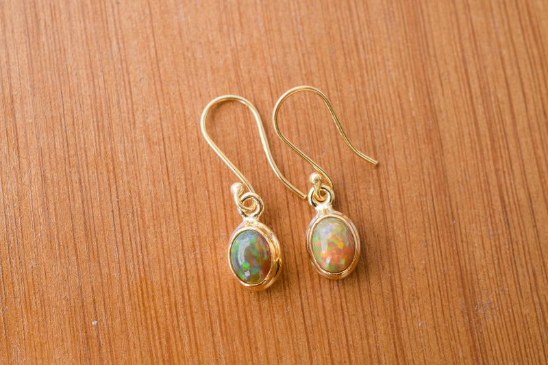 925 Silver Gold-Plated Precious Opal Dangling Earrings