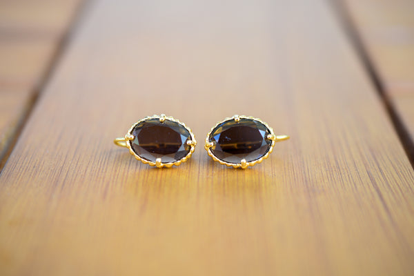 925 Silver Gold-Plated Smoky Quartz Decorated Earrings