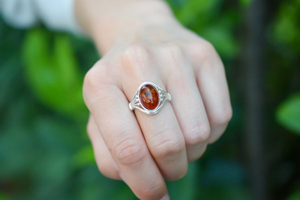 925 Silver Cognac Amber Signet Ring