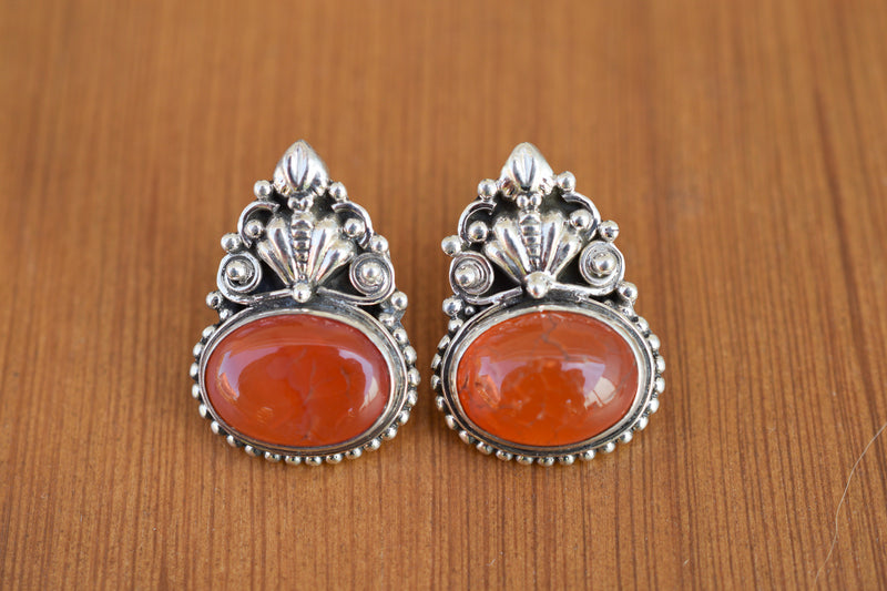 925 Silver Carnelian (Red Agate) Mughal-Style Heavy Earrings