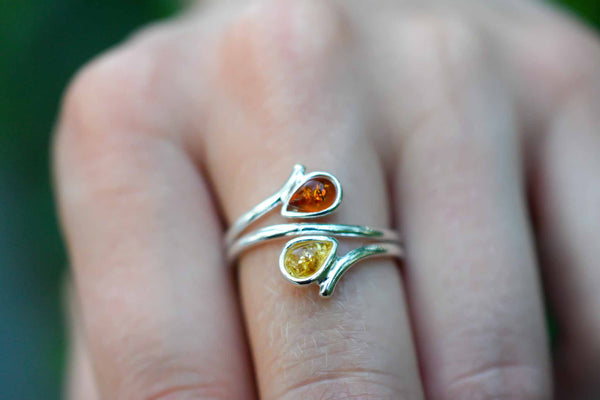 925 Cognac and Light Amber Drop-Shaped Ring