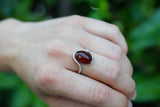 925 Silver Blood Amber Wrap Oval Thick Ring
