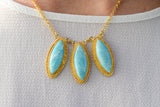 925 Silver Gold-Plated Decorated Oval 3 x Amazonite Integrated Necklace