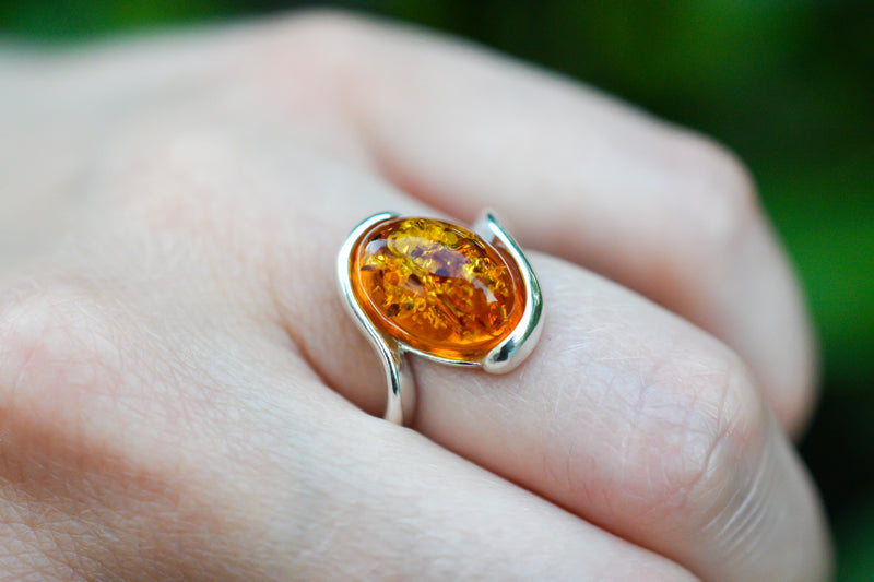 925 Silver Cognac Amber Wrap Oval Thick Ring