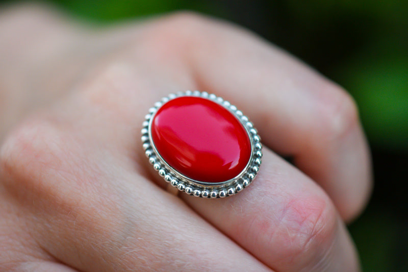 925 Silver Constituted Coral Large Decorated Ring