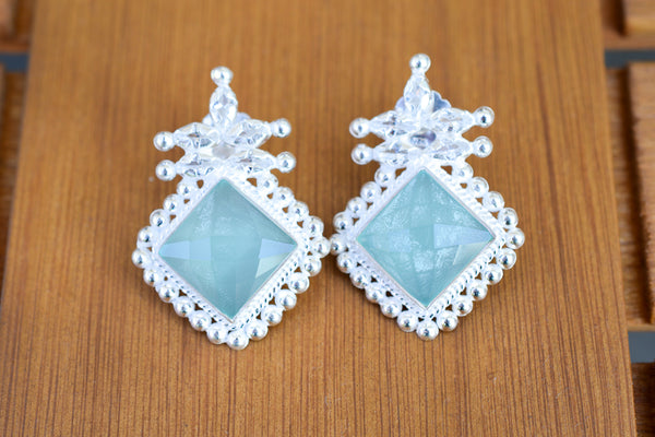925 Silver Aqua Agate Decorated Stud Earrings