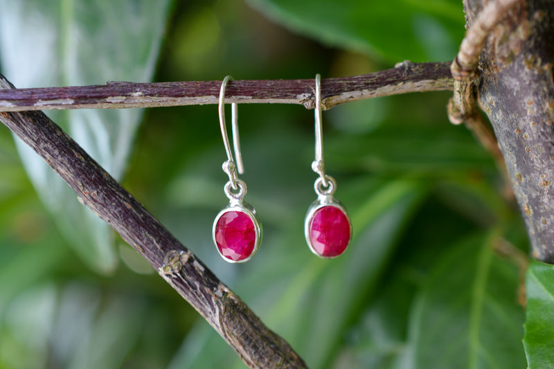 925 Silver Dangling Ruby Earrings
