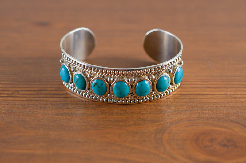 925 Silver Decorated Circular Reconstituted Turquoise Bracelet