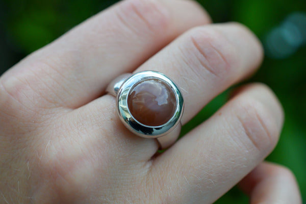 925 Silver Chocolate Moonstone Circular Ring