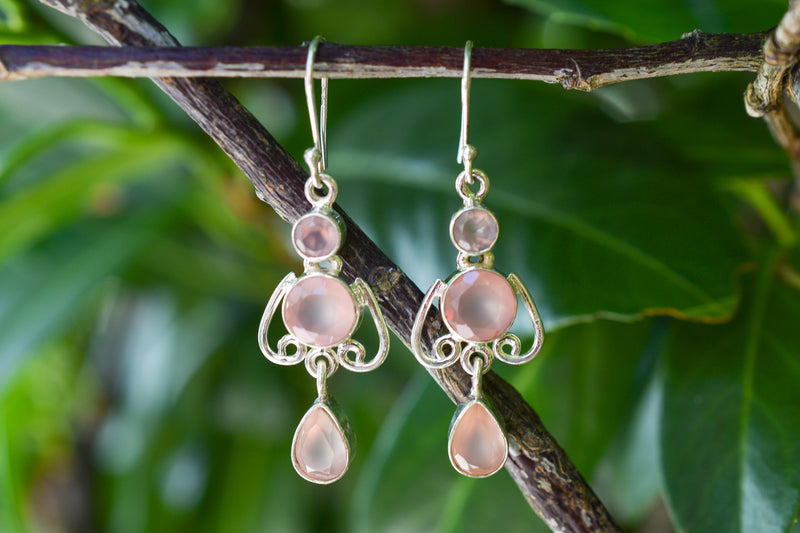 925 Silver Mughal-Style Pink Agate Earrings