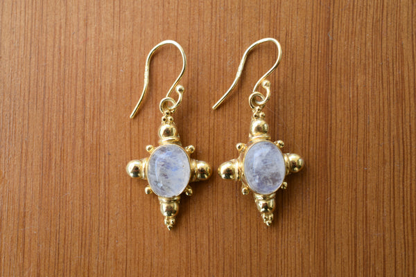 925 Gold-Plated Silver Rainbow Moonstone Indian-style Earrings