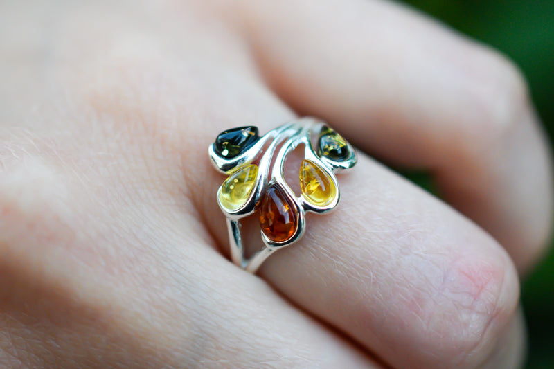 925 Cognac and Light Amber Multicoloured Drop-Shaped Ring