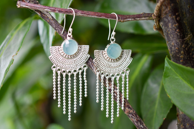 925 Silver Decorated Dangling Faceted Aqua Agate Earrings