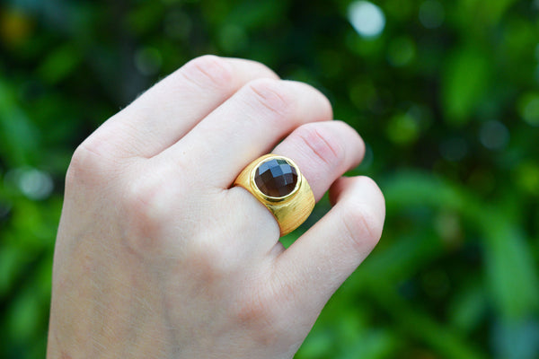 925 Silver Gold-Plated Decorated Smoky Quartz Ring