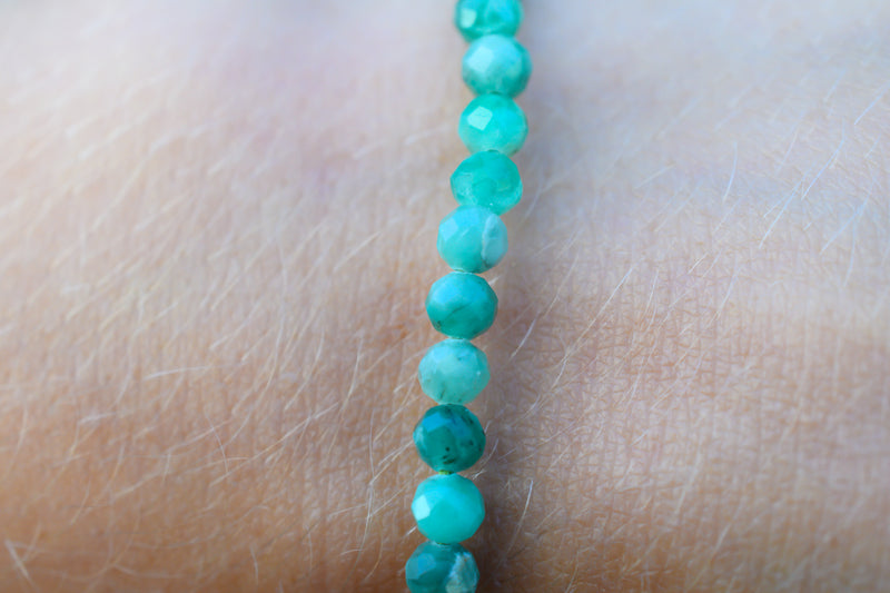 Emerald Faceted Beads Bracelet 4mm