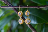 925 Gold-Plated Silver Decorated Two Rainbow Moonstone Earrings