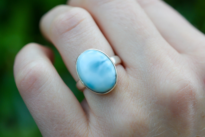 925 Silver Small Oval Larimar Ring