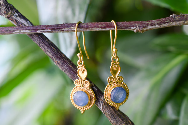 925 Silver Gold-Plated Kyanite Indian-Style Earrings