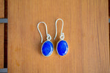 925 Silver Large Dangling Lapis Lazuli Earrings