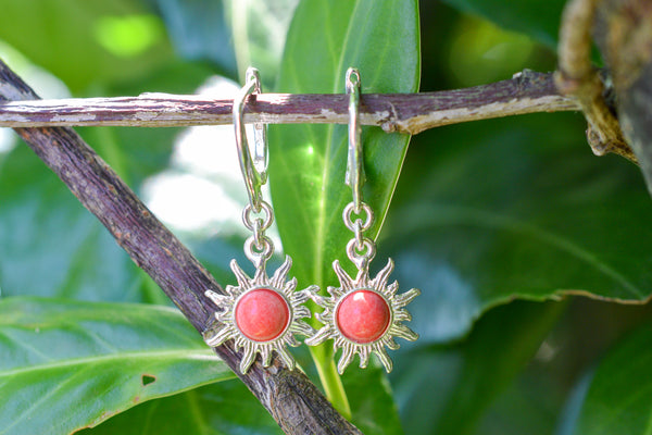 925 Silver Synthetic Coral Sun-Shaped Earrings