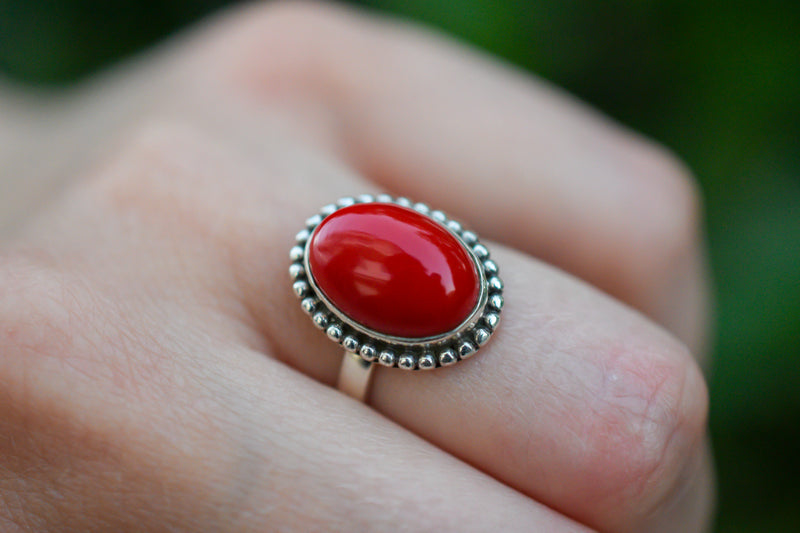 925 Silver Constituted Coral Small Decorated Ring
