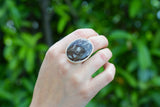 925 Silver Adjustable Jasper Circular Ring