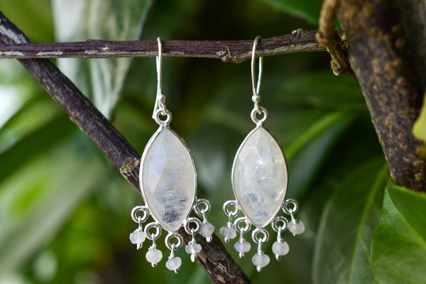 925 Gold-Plated Silver Rainbow Moonstone Dangling Earrings