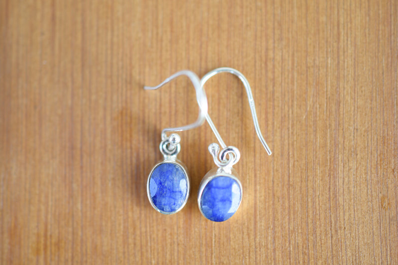 925 Silver Small Sapphire Oval Earrings