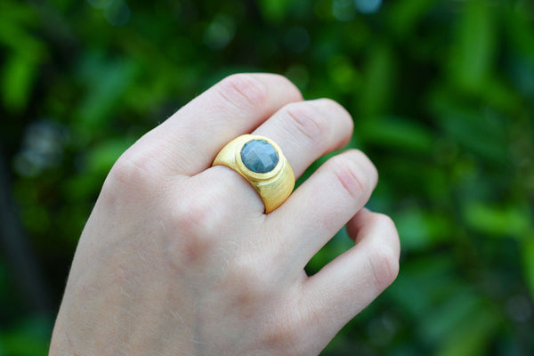 925 Silver Gold-Plated Decorated Labradorite Ring