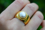 925 Silver Gold-Plated Decorated Cultured Pearl Ring