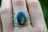925 Silver Decorated Labradorite Ring