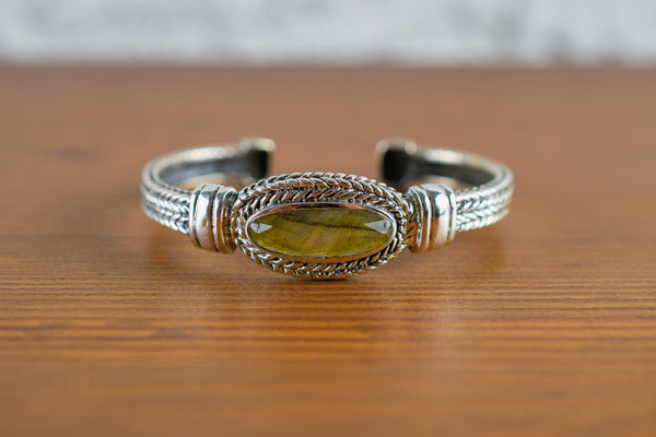 925 Large Decorated Labradorite Bracelet