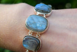 925 Silver Rectangle Labradorite Bracelet