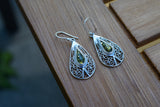 925 Silver Decorated Green Amber Drop Earrings