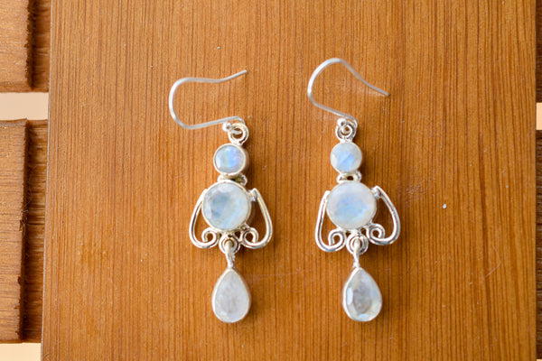 925 Silver Dangling Rainbow Moonstone Drop and Circle Earrings