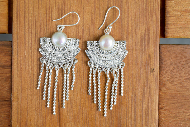 925 Silver Decorated Dangling Faceted Cultured Pearl Earrings