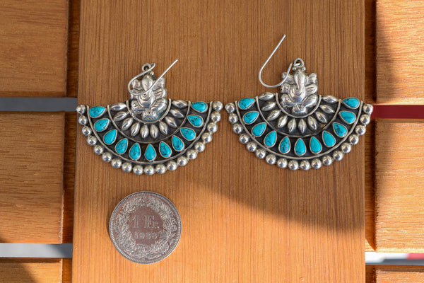 925 Silver Turquoise Ganesh Earrings