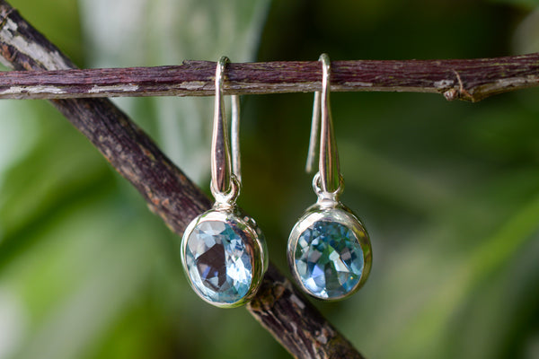 925 Silver Large Dangling Blue Topaz Earrings