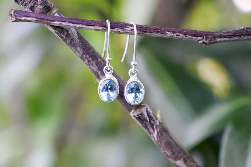 925 Silver Small Dangling Blue Topaz Earrings