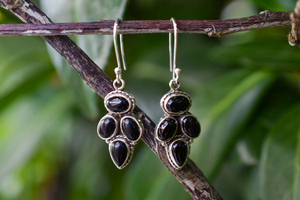925 Silver Black Onyx Dangling Diamond-Shaped Earrings