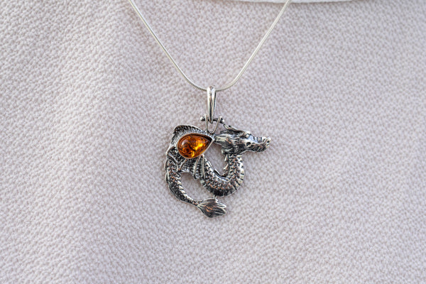 925 Silver Cognac Amber Dragon-shaped Pendant