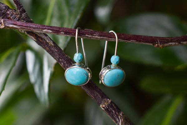925 Silver Round Turquoise Earrings